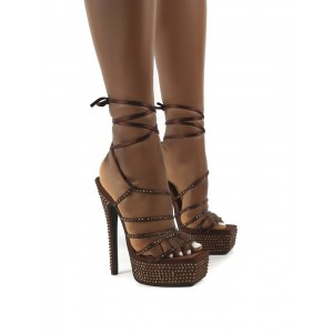 Custom Made Brown Rhinestone Strappy Platform Sandals