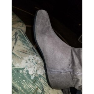 Custom Made Grey Flat Back Lace up Knee Boots
