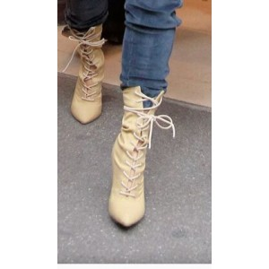 Custom Made Khaki Lace up Ankle Booties