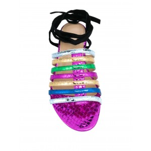 Custom Made Multicolor Snakeskin Strappy Flat Sandals