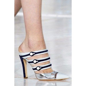 Custom Made Navy and Silver Stiletto Heels Mules