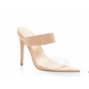 Custom Made Nude Mule Heels Sandals Open Toe Clear Shoes