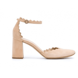 Custom Made Nude Suede Ankle Strap Chunky Heel Sandals