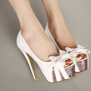 Custom Made White Bow Peep Toe Platform Heels Pumps
