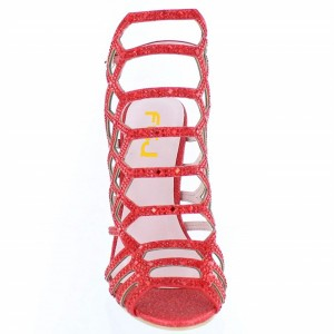 Custom Made Red Glitter Cage Sandals