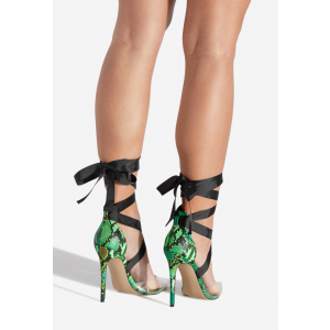 Custom Made Snakeskin and PVC Strappy Pumps