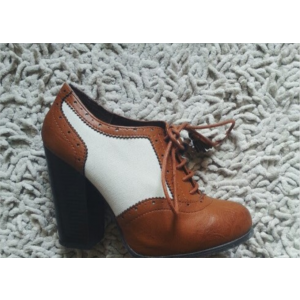 Custom Made Tan and  White Vintage Oxford Heels