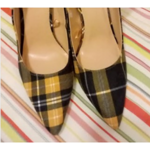 Custom Made Tartan Chunky Heel Pumps