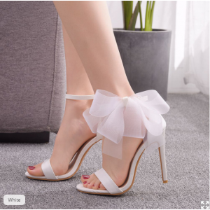 Custom Made White Bow Ankle Strap Sandals