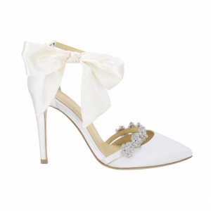 Custom Made White Bow Ankle Strap Stiletto Heel Pumps