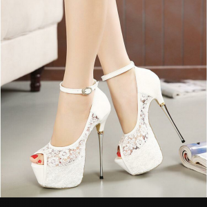 Custom Made White Lace Peep Toe Platform Ankle Strap Heels