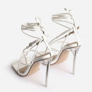Custom Made White Strappy High Heel Sandals