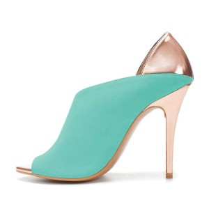 Cyan and Black Open Toe Cut Out Stiletto Heels Pumps