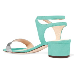Cyan and Silver Cross Over Block Heel Sandals