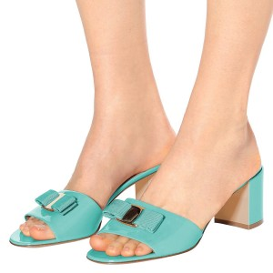 Cyan Block Heels Sandals Open Toe Mule with Bow