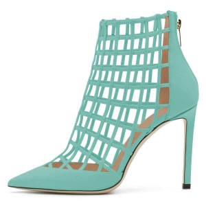 Cyan Caged Stiletto Heels Ankle Boots Summer Boots