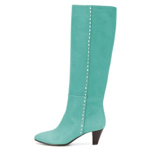 Cyan Chunky Heel Long Boots Knee High Boots