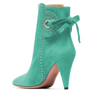 Cyan Cone Heels Suede Back Lace up Studs Ankle Booties By FSJ