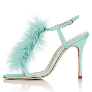 Cyan Fur Heels Slingback Stiletto Heel Sandals