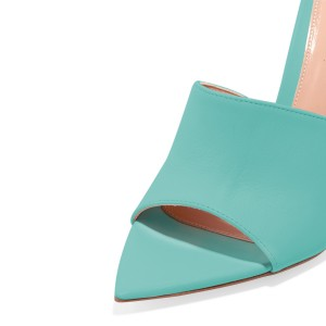 Cyan Open Toe Mule Stiletto Heels sandals for Women