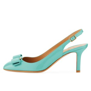 Cyan Patent Leather Bow Stiletto Heel Slingback Pumps