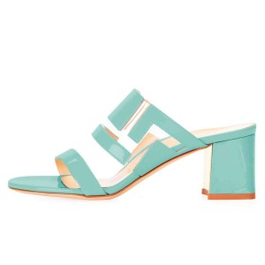 Cyan Patent Leather Clear PVC Block Heels Mule Sandals