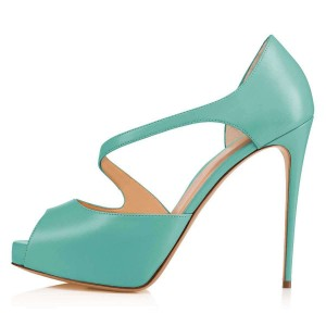 Cyan Platform Peep Toe Heels Sandals for Women