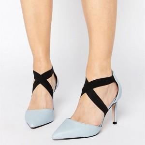 Pale Blue Office Heels Pointy Toe Cross Strap Stiletto Heel Pumps