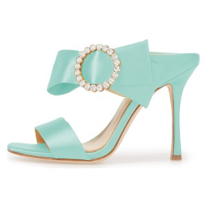 Cyan Satin Cut Out  Buckle Rhinestone Mule Sandals