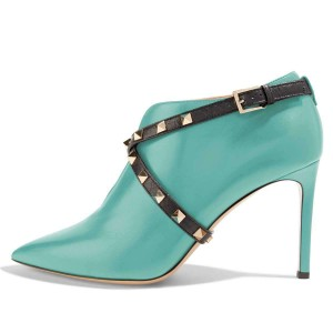 Cyan Studs Shoes Cross Over Stiletto Heel Ankle Boots