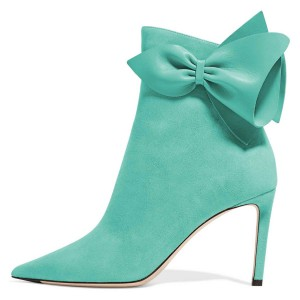Cyan Suede Bow Stiletto Heel Ankle Booties