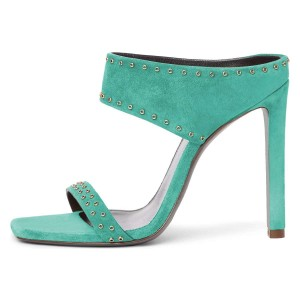 Cyan Suede Open Toe Cut Out Mule Heels