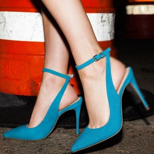 Cyan Suede Ankle Strap Sandals Stiletto Heel Pointed Toe Sandals