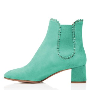 Cyan Suede Studs Chelsea Boots Chunky Heel Ankle Boots