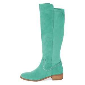 Cyan Suede Studs Knee Boots Knee-high Boots