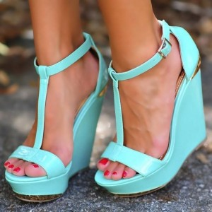 Cyan T Strap Open Toe Wedges Platform Sandals for Women