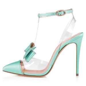 Cyan T Strap Pumps PVC Bow Stiletto Heel Pumps