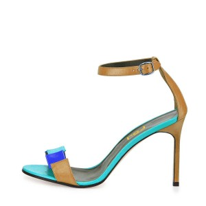 Women's Khaki and Cyan Ankle Strap Open Toe Stiletto Heel Ankle Strap Sandals