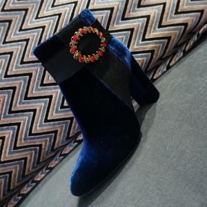 Blue Velvet Fashion Boots Short Chunky Heel Ankle Boots with Buckle