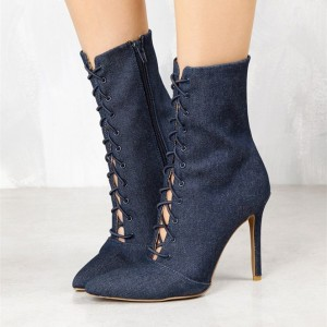 Women's Navy Denim Lace up Boots Pointy Toe Stiletto Heel Booties