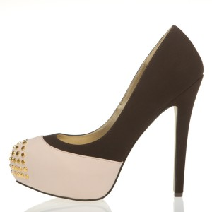 Dark Brown and Blush Studs Peep Toe Platform Stiletto Heels Pumps