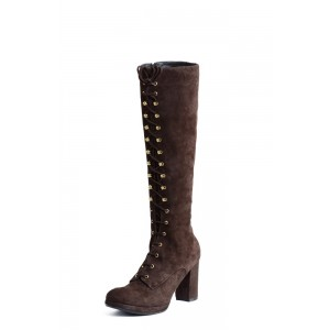 Dark Brown Block Heel Knee High Lace up Boots Round Toe Vintage Boots