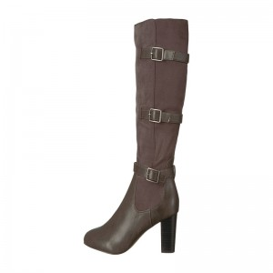 Dark Brown Chunky Heel Boots Buckles Knee-high Boots