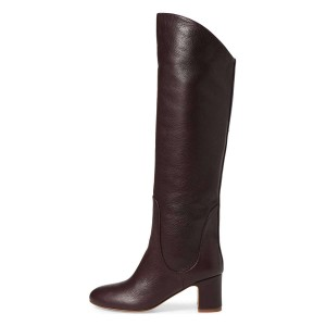 Dark Brown Tall Boots Round Toe Block Heel Knee Boots