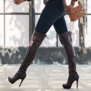Dark Brown Platform Boots Lace Up Stiletto Heel Over the Knee Boots