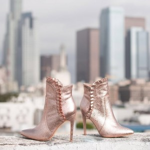 Dark Champagne Stiletto Boots Ruffle Ankle Boots