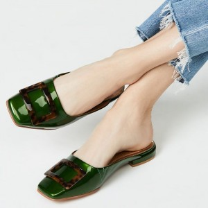 Dark Green Patent Leather Flat Loafer Mules