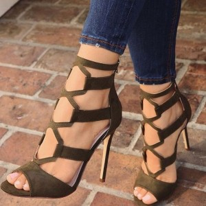 Dark Green Suede Cut out Stiletto Heels Sandals with Zipper