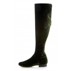 Dark Green Velvet Long Boots Keen High boots