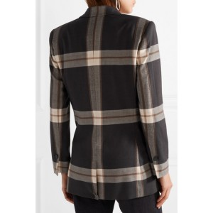 Dark Grey Checked Oversized Felt Blazer for Women